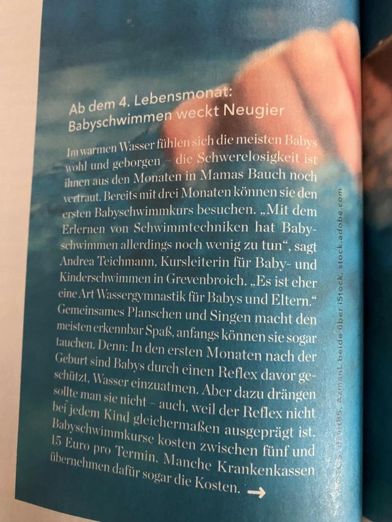 Andrea Teichmann Eltern Magazin schwimmen